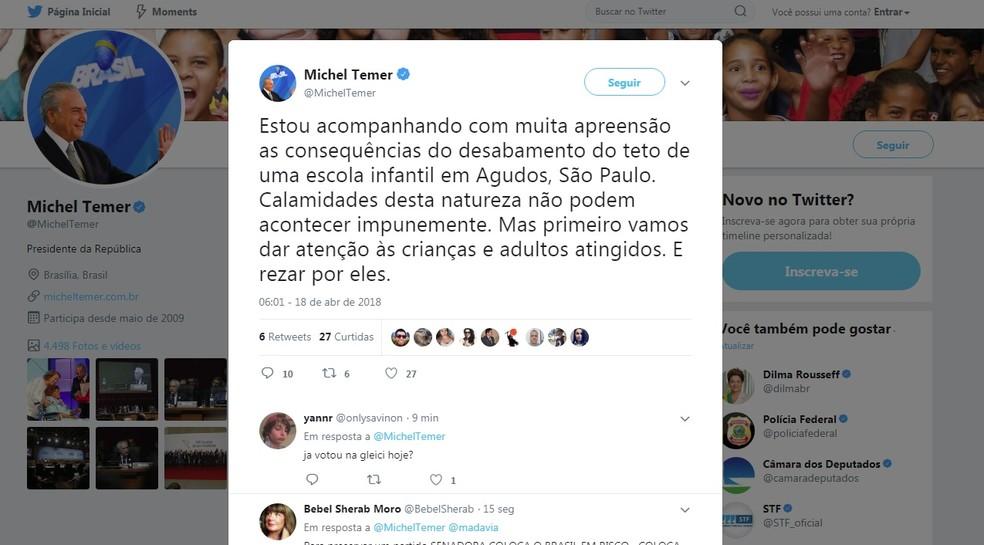 Presidente se manifestou sobre o acidente nas redes sociais  (Foto: Twitter/ Reprodução )