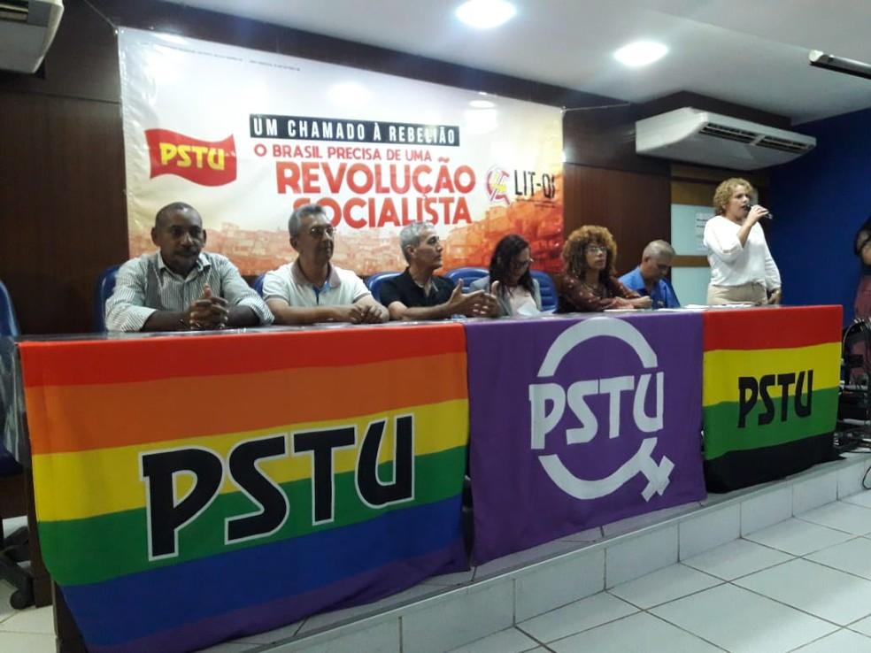 Convenção do PSTU do RN aconteceu nesta sexta (3) em Natal (Foto: Heloísa Guimarães/Inter TV Cabugi)