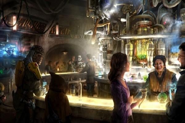 Uma ilustração demonstrando como será a atração inspirada na cantira de Star Wars (Foto: Divulgação)