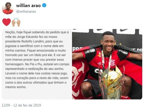Willian Arão homenageará vítima da tragédia