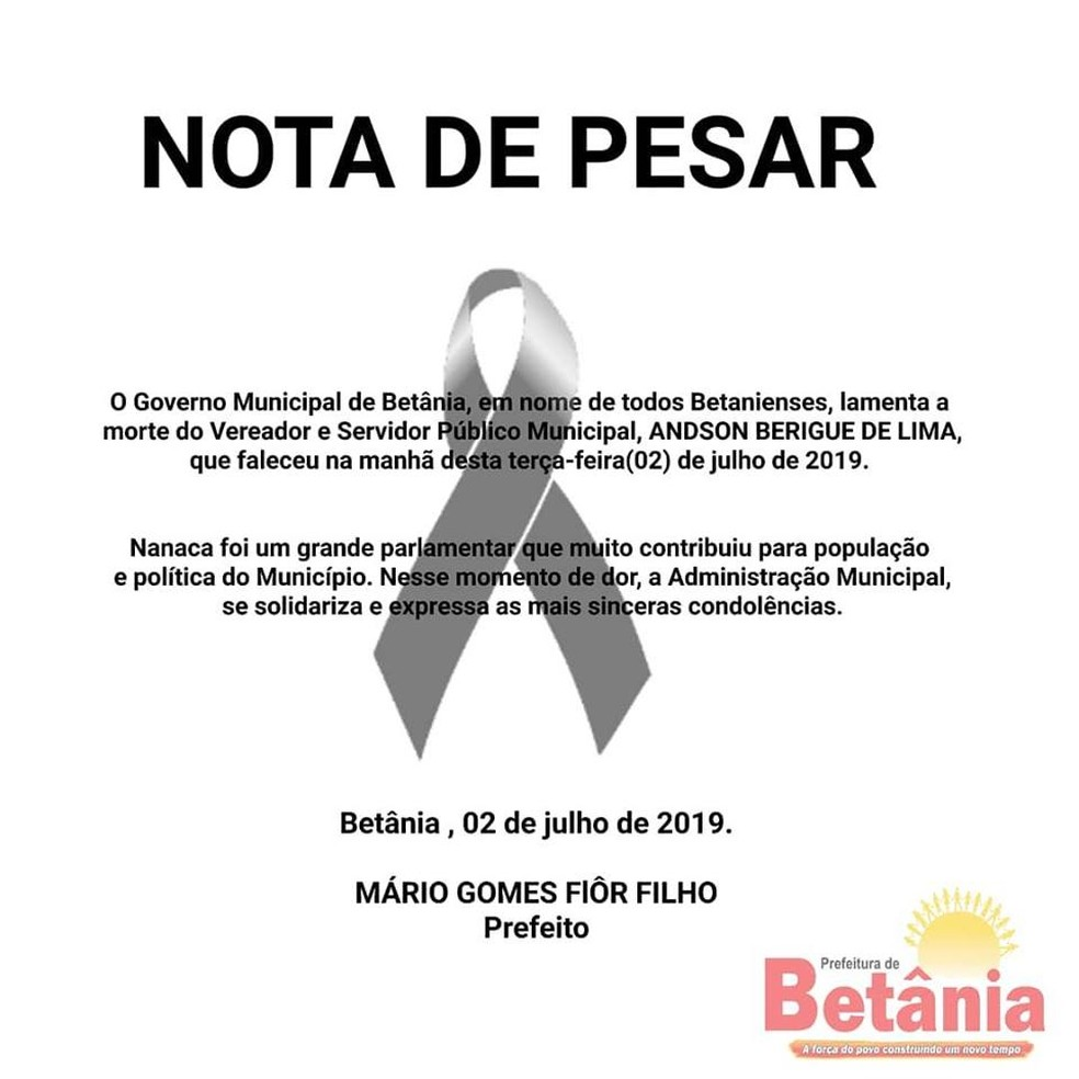 Prefeitura de Betânia emite nota de pesar por morte de vereador suspeito de ter envolvimento com crimes — Foto: Reprodução/Facebook/Prefeitura de Betânia