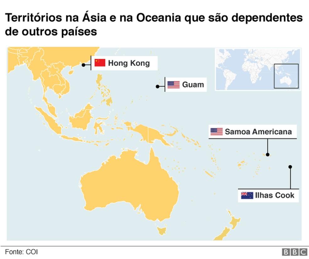 Territórios dependentes na Ásia e na Oceania — Foto: BBC