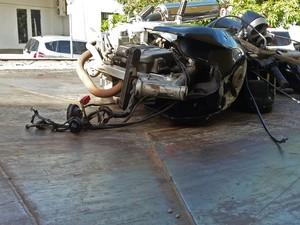 Acidente foi registrado no Jardim Bongiovani, em Presidente Prudente (Foto: Stephanie Fonseca/G1)