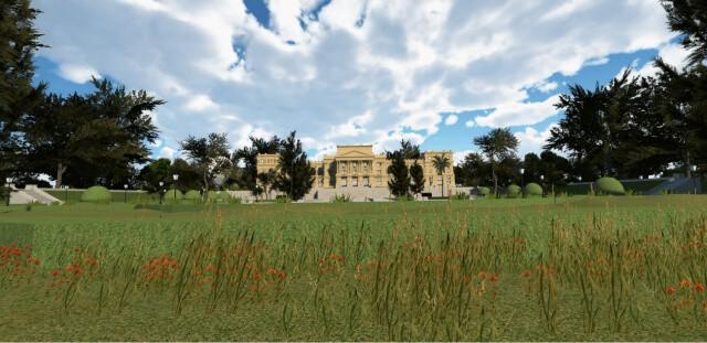 Fachada do Museu do Ipiranga vista pelo aplicativo (Foto: Reprodução/app Museu do Ipiranga Virtual)