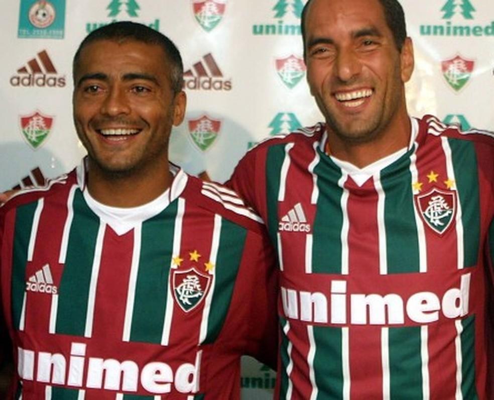 Romário e Edmundo jogaram juntos no Fluminense em 2004 — Foto: Divulgação