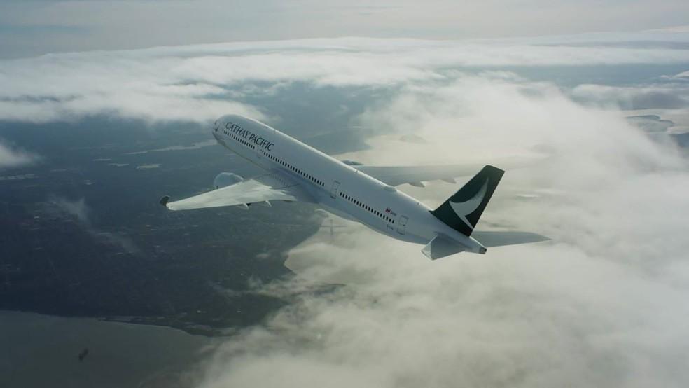 Avião da Cathay Pacific — Foto: Reprodução/Facebook da companhia