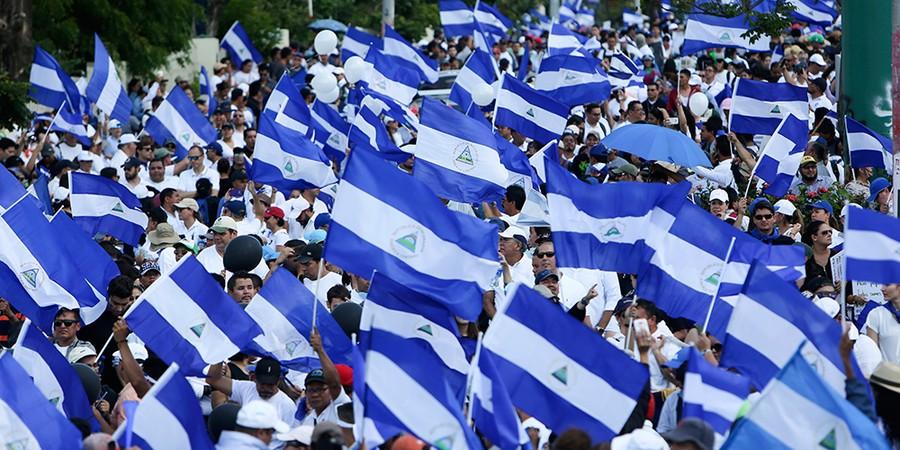 Multidão nas ruas de Manágua contra a reforma previdenciária proposta pelo governo de Daniel Ortega (Foto: AP PHOTO/ALFREDO ZUNIGAAP)