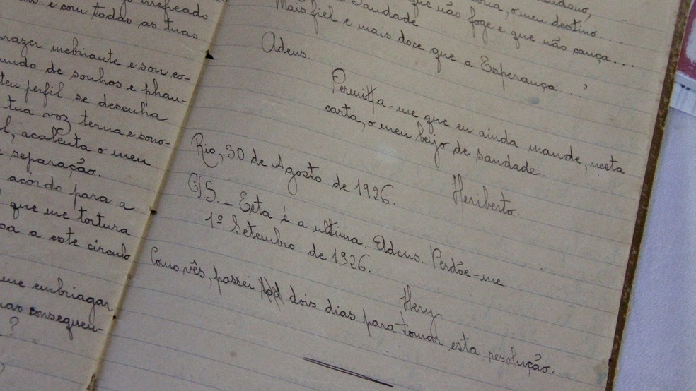 Última carta de Heriberto para Anayde Beiriz — Foto: Dani Fechine/G1