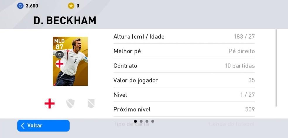 O inglês David Beckham é um dos craques lendários que podem ser contratados em PES 2020 Mobile — Foto: Reprodução/Carlos Palmeira