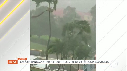 Furacão Dorian passa ao lado de Porto Rico e segue em direção aos Estados Unidos