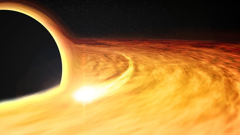 Gás em torno de um buraco negro — Foto: Nasa/CXC/M.Weiss