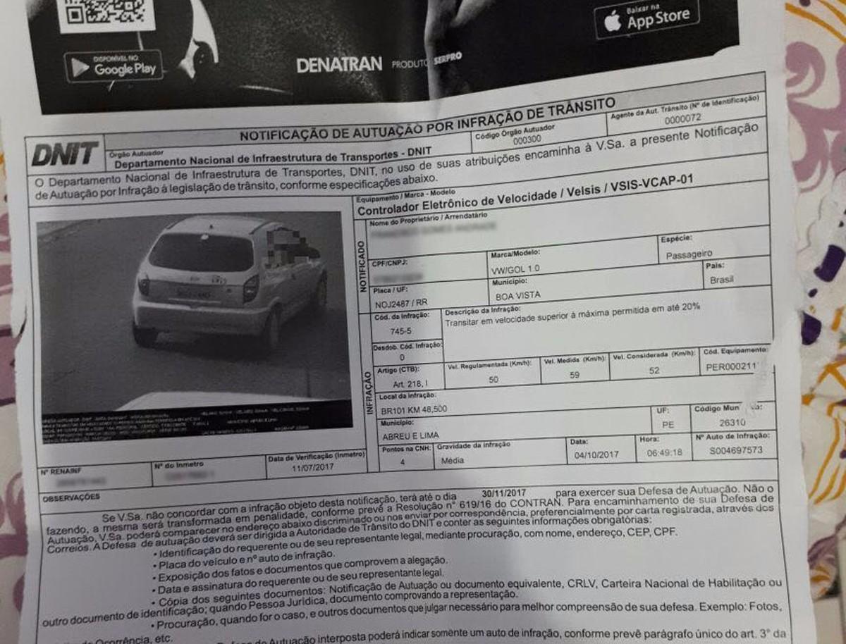 Motorista de Roraima recebe multa com foto de veículo em Pernambuco: 'confundiram a placa'