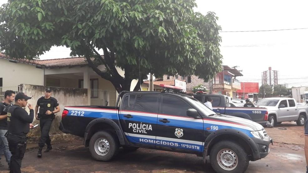 Movimentação de policiais em frente à sede do NAI, em Santarém — Foto: Reprodução/Redes Sociais/Arquivo