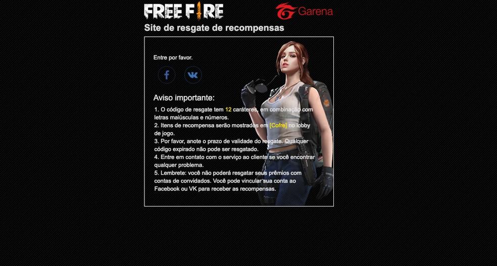 Como usar o Free Fire Rewards Redemption para conseguir itens no