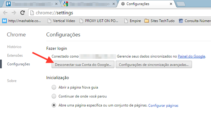 Acessando a ferramenta de logout do Google Chrome (Foto: Reprodu??o/Marvin Costa)