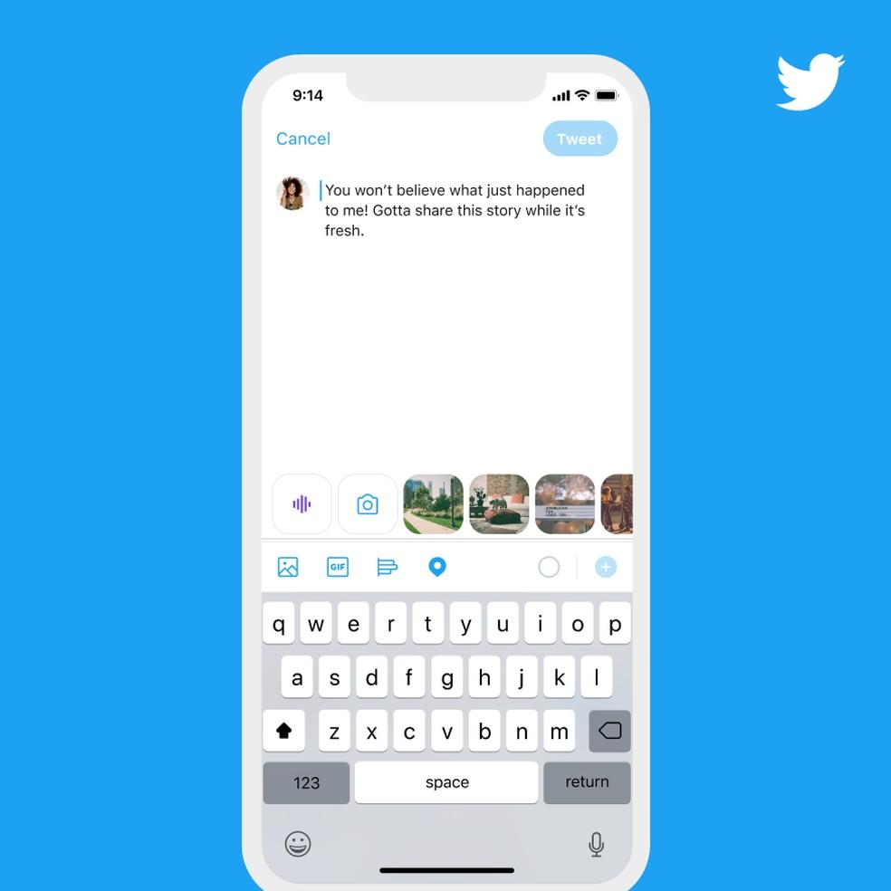 Ícone de onda sonora para criação de tuíte de voz no Twitter — Foto: Divulgação