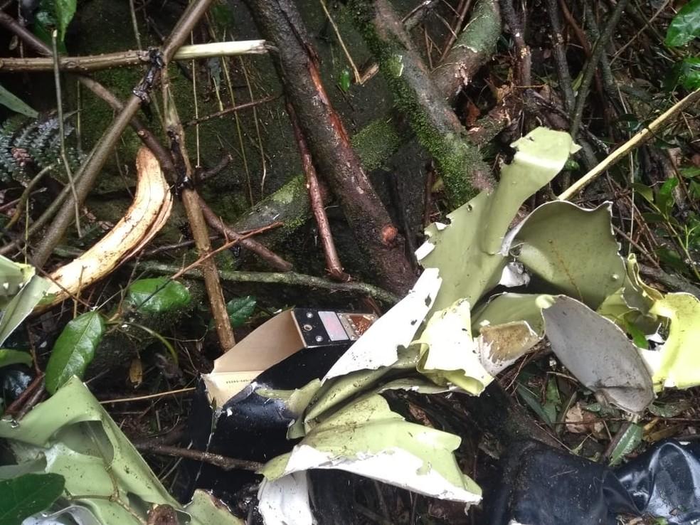 Avião pegou fogo após cair em área de mata em Ipumirim — Foto: Alex Pacheco/ Atual FM