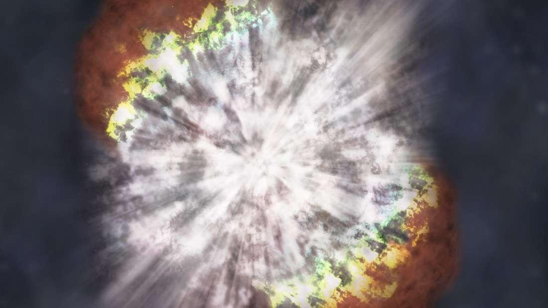 Concepção artística retrata uma supernova superluminosa: 10 vezes mais brilhante que uma explosão padrão (Foto: NASA)