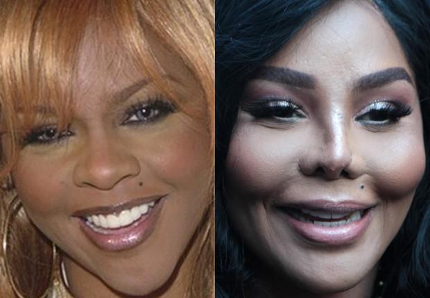 Lil' Kim em 2001 e em 2018 (Foto: Getty Images e BackGrid)