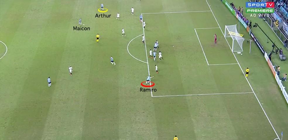 Gol de Maicon e a movimentação de Ramiro (Foto: Leonardo Miranda)