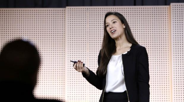 Roberta Vasconcellos, a CEO do Beer or Coffee, fez o pitch sobre seu negócio no evento #GoogleDemoDay (Foto: Divulgação)