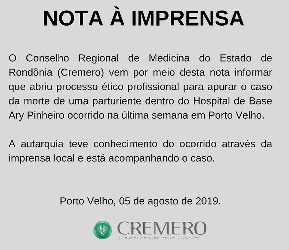 Cremero apura morte de Luciene Gomes, no Hospital de Base em Porto Velho  — Foto: Cremero/Divulgação