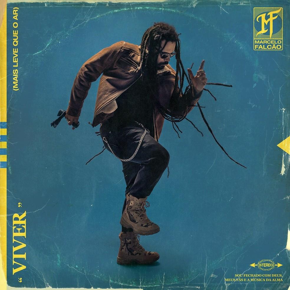 Capa do primeiro álbum solo de Marcelo Falcão, 'Viver (Mais leve que o ar)' — Foto: Jaques Dequeker
