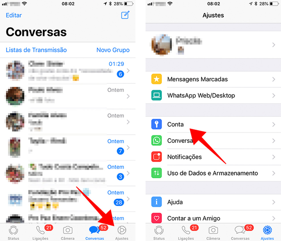 Acesse as configurações de conta do WhatsApp para iPhone (Foto: Reprodução/Paulo Alves)