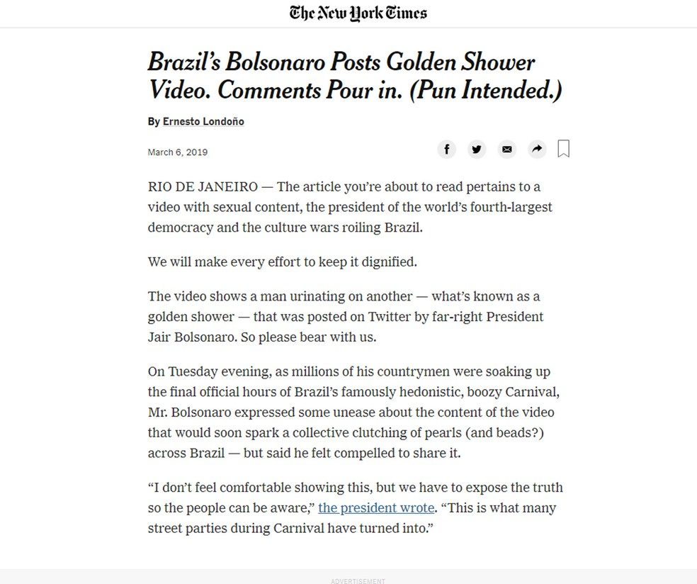 'New York Times' registrou que Bolsonaro divulgou vídeo com conteúdo pornográfico — Foto: Reprodução G1