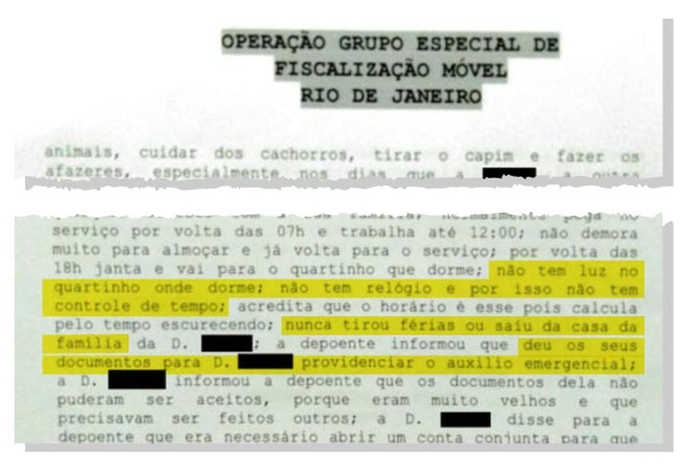 Trecho de depoimento de mulher resgatada em situação análoga à escravidão no Rio — Foto: Reprodução