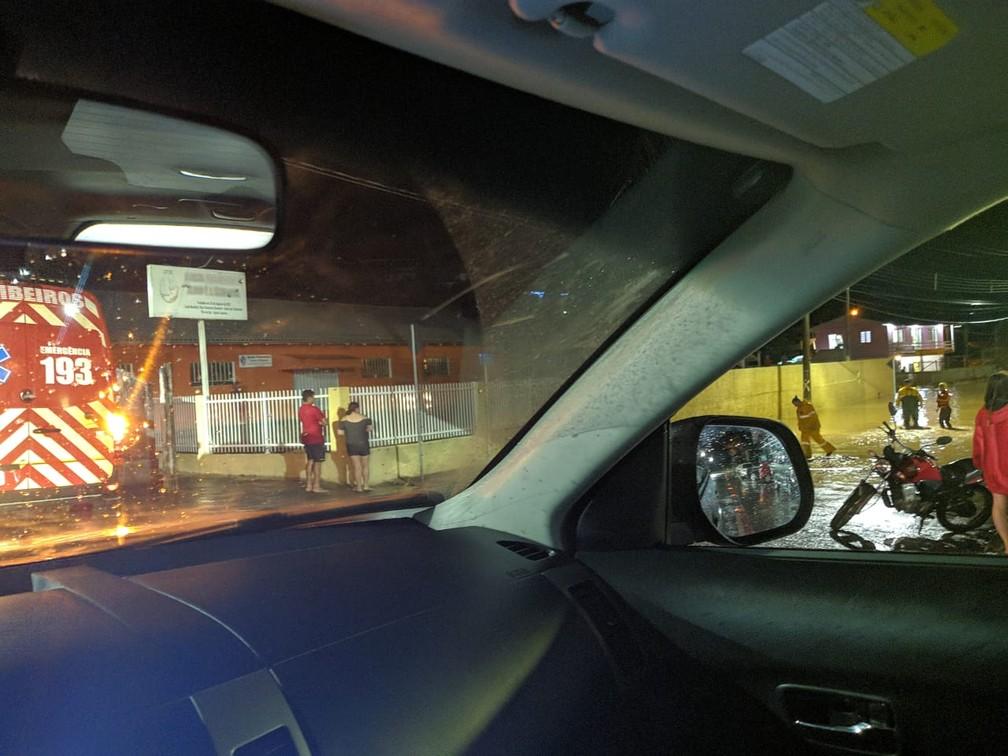 Presidente Getúlio, no Vale do Itajaí, também teve pontos de alagamentos durante a noite de quarta-feira (16). — Foto: Corpo de Bombeiros de Santa Catarina/Divulgação