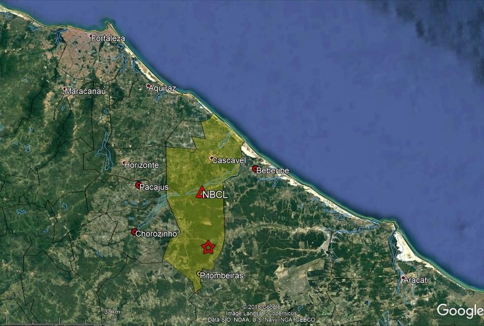 Laboratório registra tremor de terra de magnitude 1,8 em Cascavel (Foto: Google/LabSis/Reprodução)