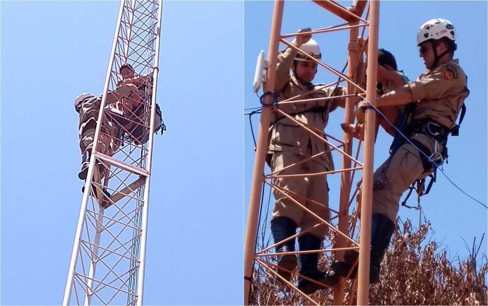 Criança e avô foram resgatados ilesos de torre de celular, em Goiatuba, Goiás (Foto: Divulgação/Corpo de Bombeiros)