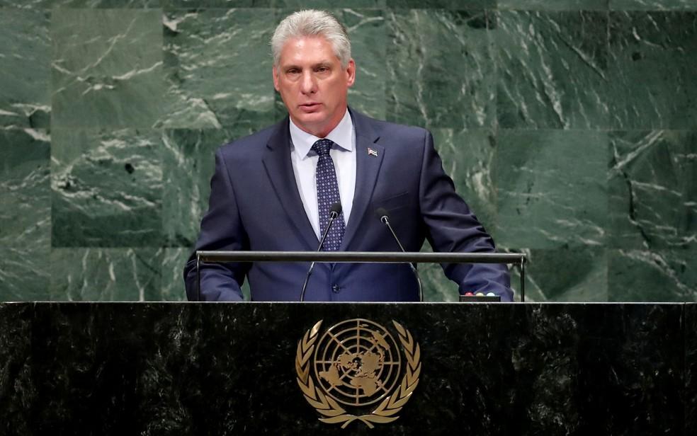O presidente de Cuba, Miguel Díaz-Canel, discursa na 73ª Assembleia Geral da ONU, em Nova York, na quarta-feira (26) — Foto: Reuters/Carlo Allegri