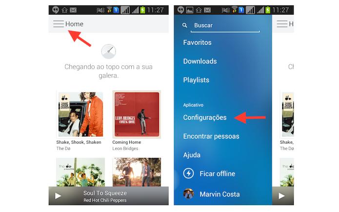 Acessando as configurações do Rdio no Android (Foto: Reprodução/Marvin Costa)