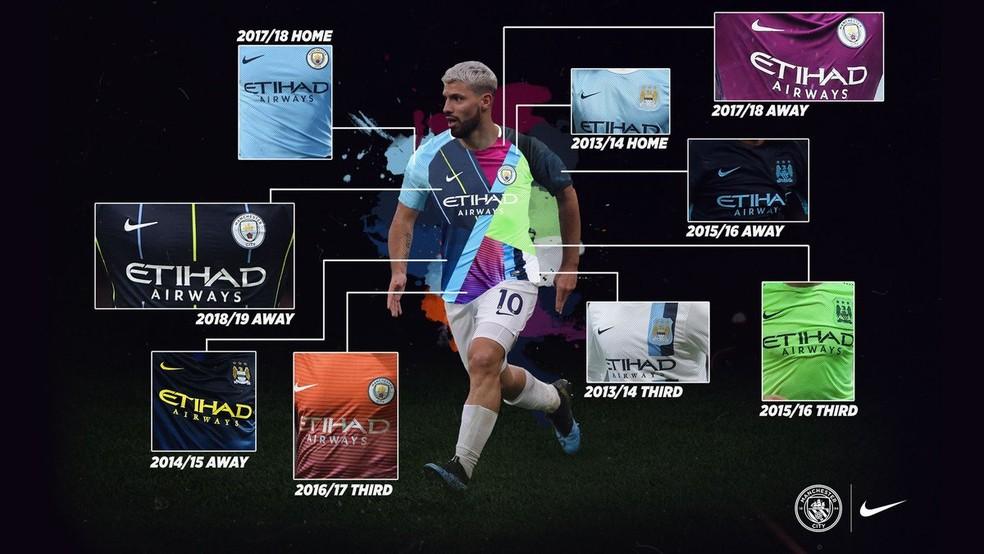 39f79ce57b60c ... Manchester City dá detalhes de todas as nove camisas que aparecem na  nova peça — Foto