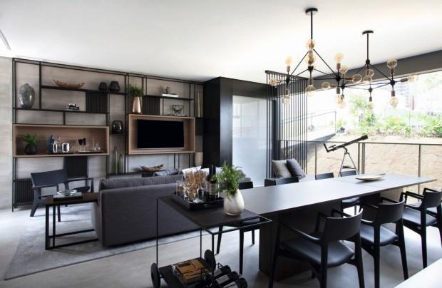União de dois imóveis resulta em apartamento moderno e integrado