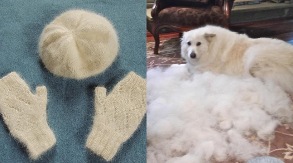 Algumas das peças produzidas por usando pelos de um husky. (Foto: Facebook)