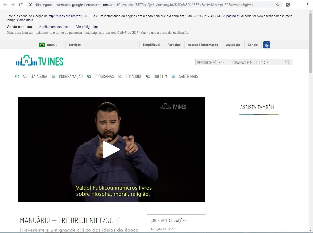 Vídeo sobre Friedrich Nietzche estava no ar no mínimo até 1 de janeiro