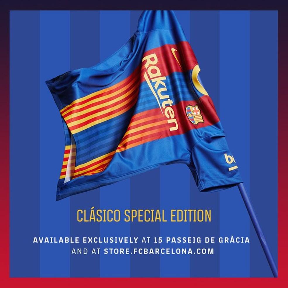 Camisa ou bandeira? As duas coisas para o Barcelona — Foto: Divulgação / FC Barcelona