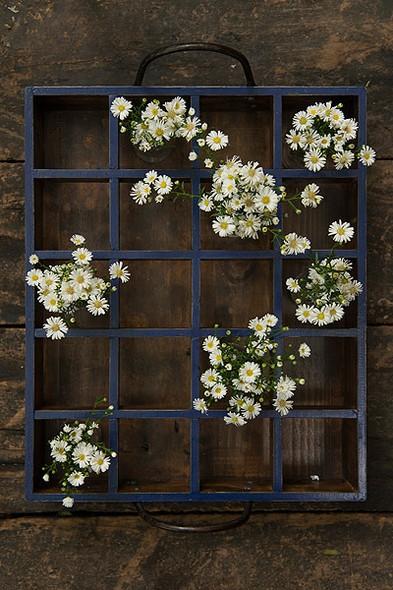 O suporte de metal acomoda pequenas flores. Pode ser colocado tanto numa mesa de canto quanto pendurado na parede