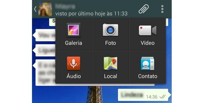 Menu de anexar arquivos do WhatsApp móvel expandido (Foto: Reprodução/ Raquel Freire)