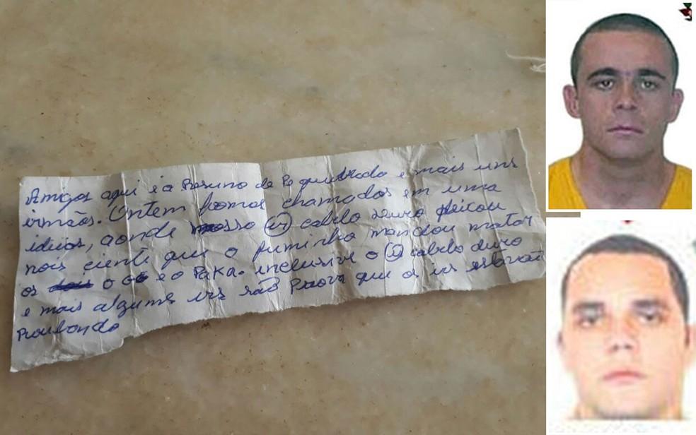 Bilhete encontrado na Penitenciária 2 de Presidente Venceslau indica que Gegê do Mangue e Paca (nas fotos) foram mortos porque desviaram dinheiro da facção (Foto: Reprodução/Divulgação)