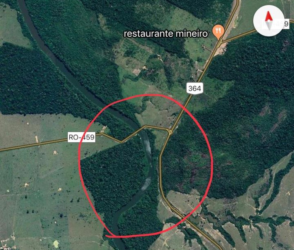 DNIT demarca em mapa ponto de alagamento na RO-459.  — Foto: Reprodução/Google