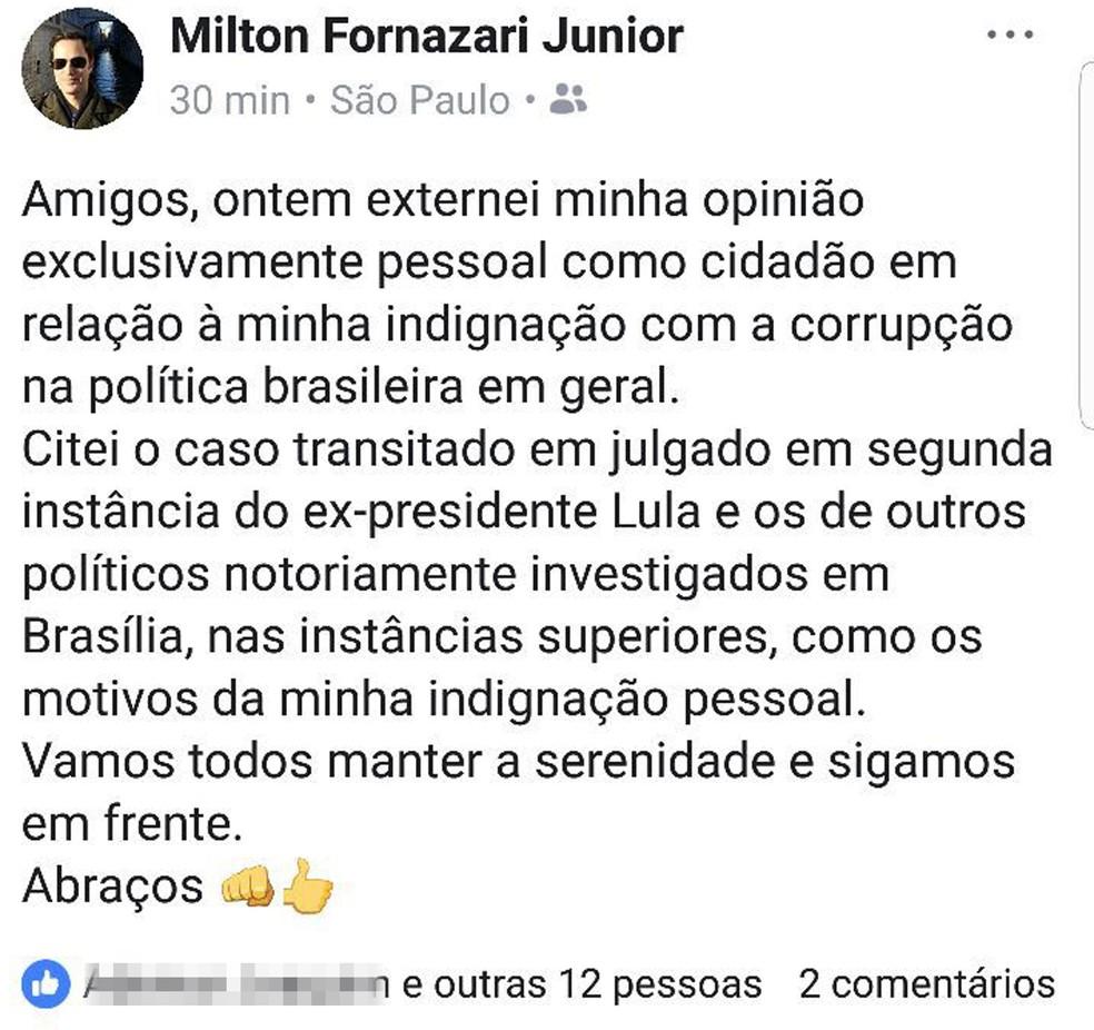 Delegado fez novo post, afirmando que externou 'opinião pessoal' e de 'indignação (Foto: Arquivo Pessoal/G1)