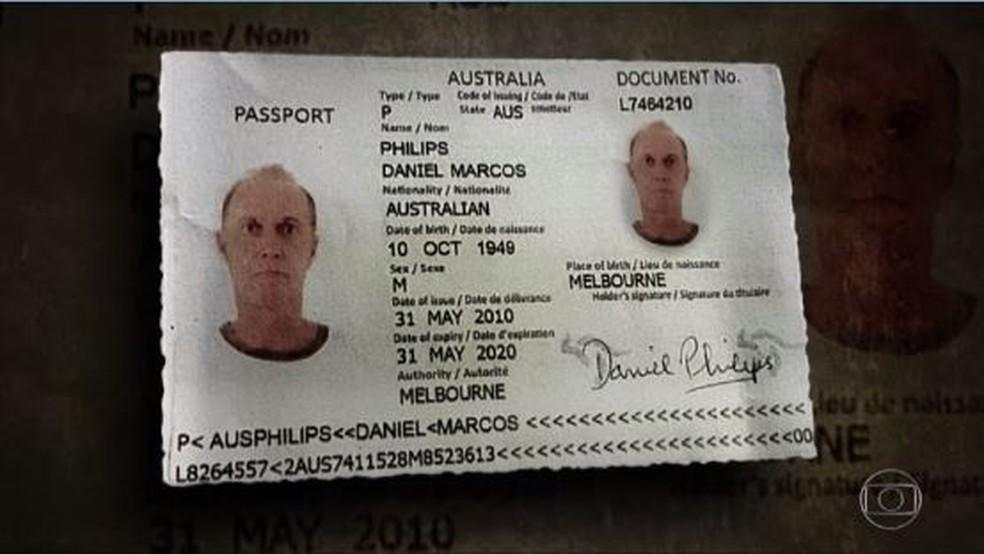 Na cópia do passaporte, o australiano, nascido em Melbourne, aparece com o nome Daniel Marcos Philips (Foto: Reprodução / TV Globo)