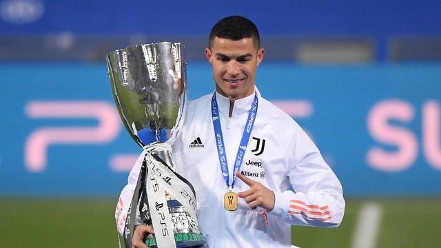 Cristiano Ronaldo com o troféu da Supercopa da Itália