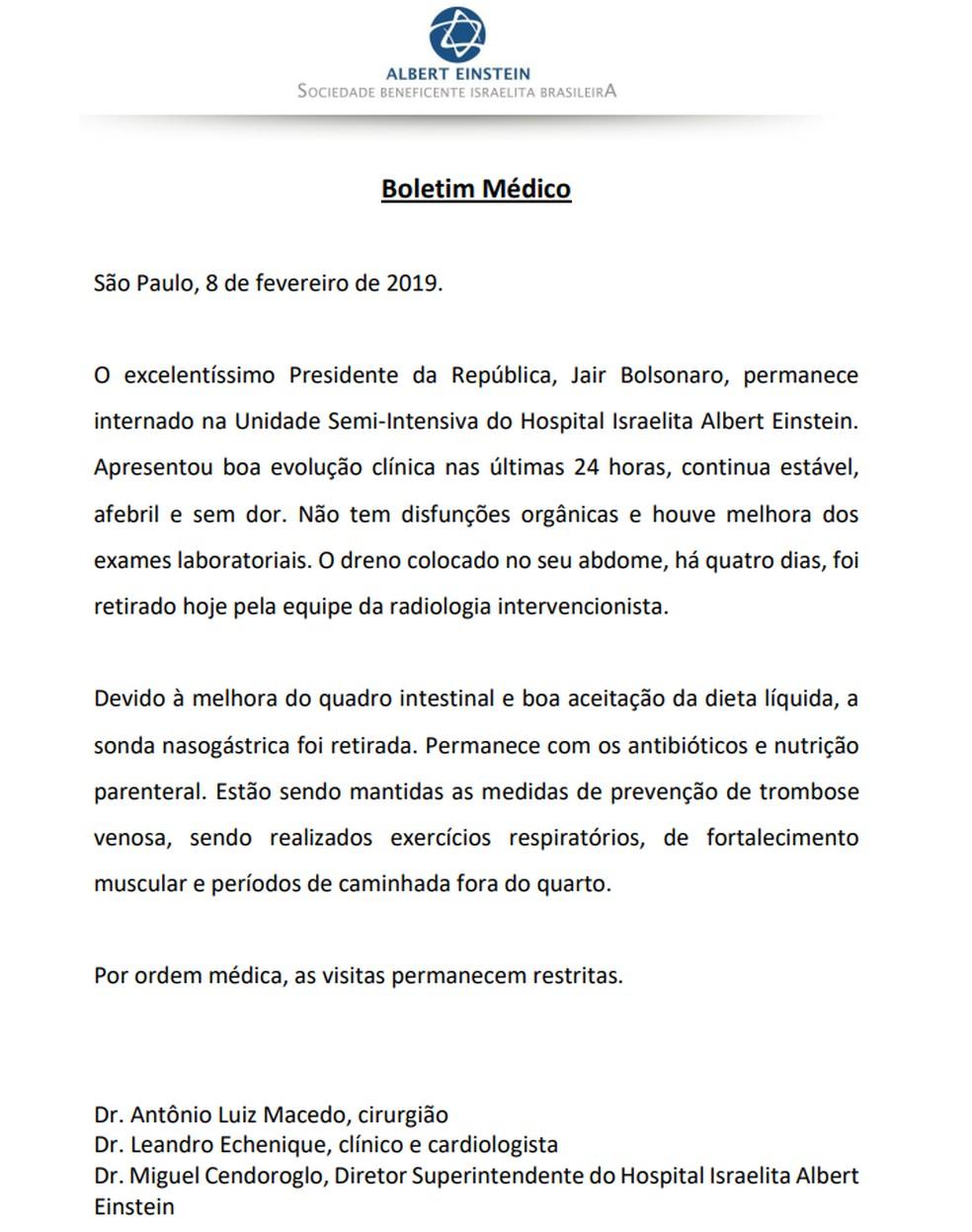 Boletim médico do presidente Jair Bolsonaro desta sexta-feira (8) — Foto: Divulgação/Hospital Albert Einstein