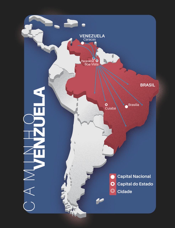 Mapa de imigração dos Venezuelanos  (Foto: TRT-MT)
