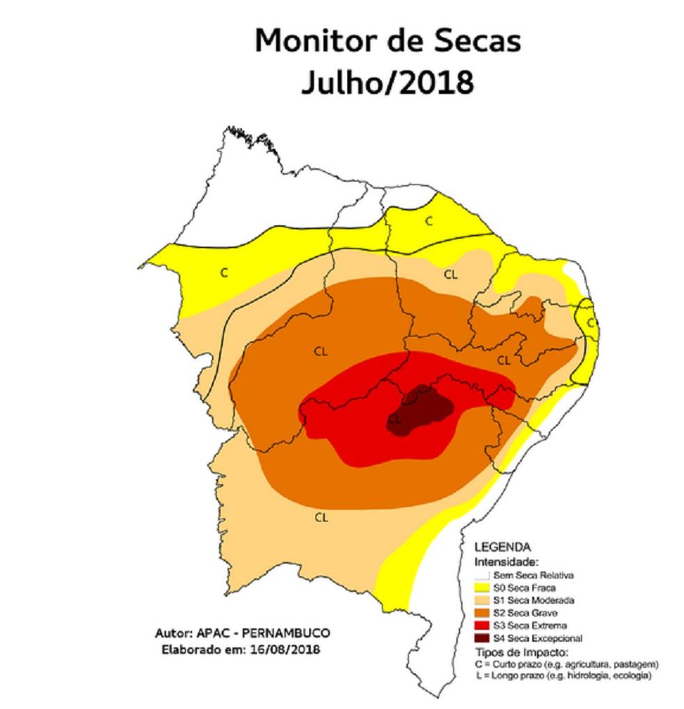 A seca se agrava devido a climatologia da precipitação ser muito baixa nesse mês.  (Foto: Monitor das Secas)